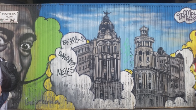 Mural en plena Gran Via