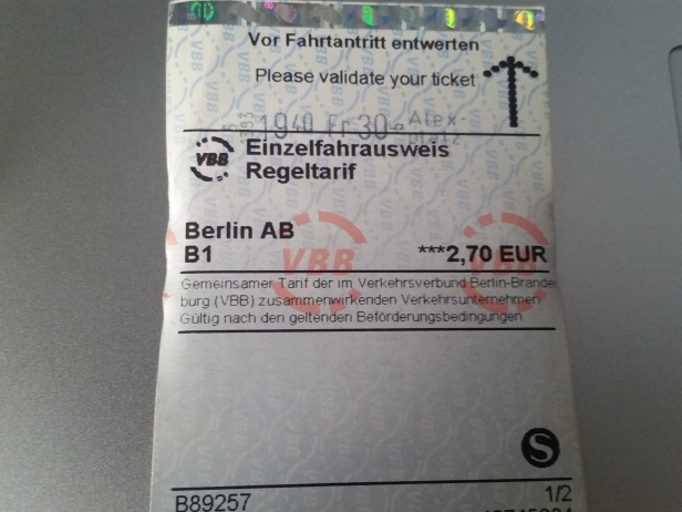 Ticket de Metro, Berlín, Alemania