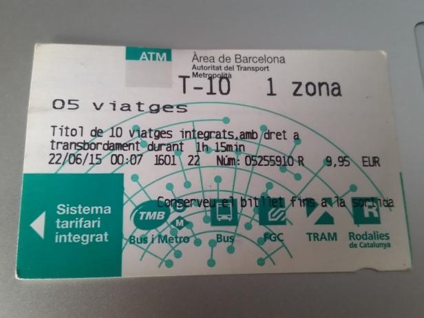 Ticket de Metro, Barcelona, España