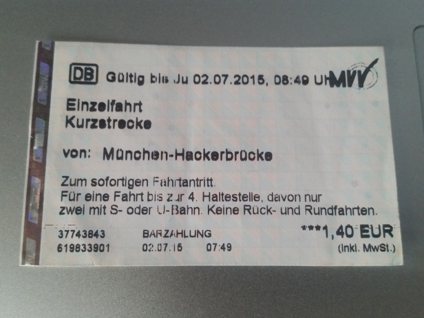 Ticket de Metro, Munich, Alemania