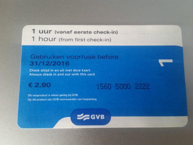 Ticket de Tranvía, Amsterdam, Países Bajos