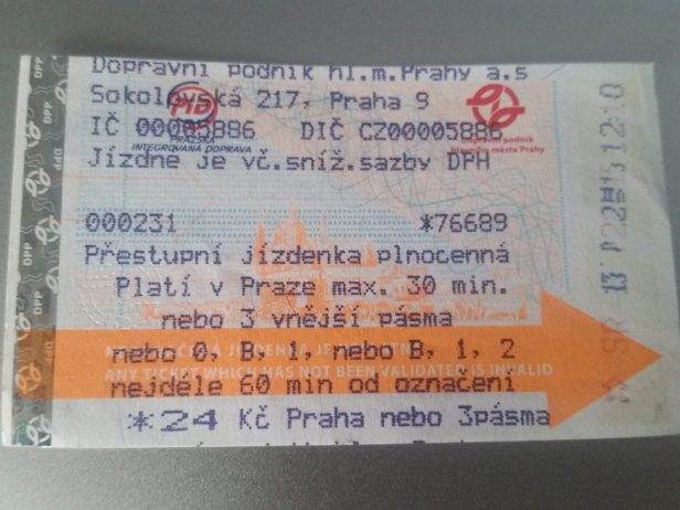 Ticket de Metro, Praga, República Checa